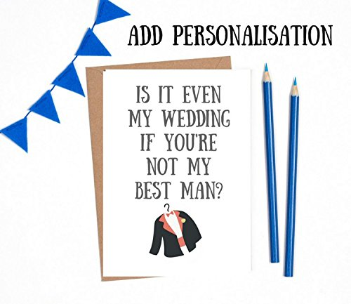 will you be my best man card asking best man 1 x white card a6