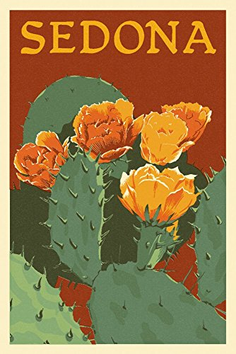 Sedona, Arizona - Prickly Pear Cactus - Letterpress (24x36 SIGNED Print Master Giclee Print w/ Certificate of Authenticity - Wall Decor Travel Poster) by Lantern Press