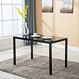 black dining room table Mecor Dining Table Modern Minimallist Glass Kitchen Table Rectangular Transparent Metal Legs 47IN for 4/6 Persons (Black)