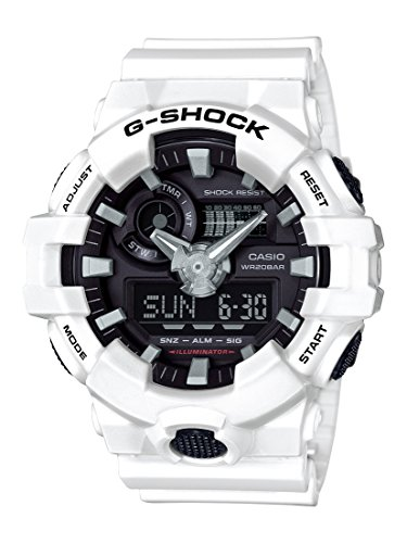 Casio Men's G Shock Quartz Watch with Resin Strap, White, 25.8 (Model: GA-700-7ACR)