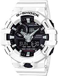 Casio Mens G SHOCK Quartz Resin Casual Watch, Color White (Model: GA-700-7ACR)