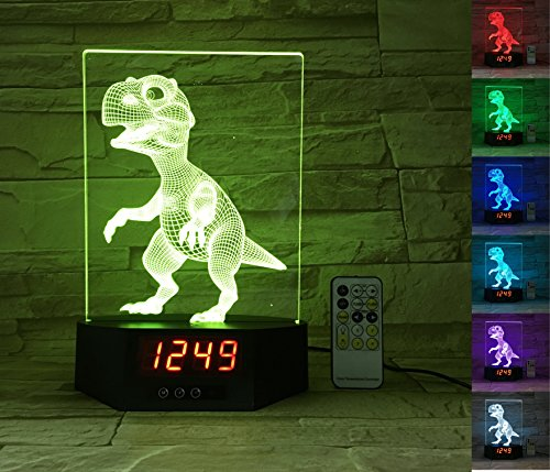 - ATOMFIT Dinosaur + Dragon 3D LED Night Light for Home, Table or Desk Lamp, Optical Illusion with 7 Color Switching - Clock, Temperature, Nursery Bedroom Boys Girls Kids Baby Toddler Adults Gift