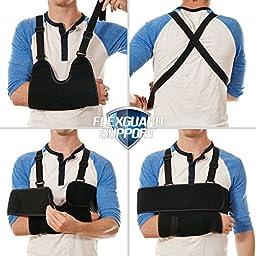 FlexGuard Arm Sling Shoulder Immobilizer – Fully Adjustable – Comfort Padding Support - for Adults