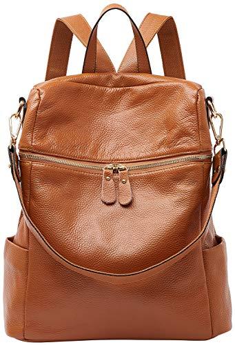 BOYATU Convertible Genuine Leather Backpack Purse for Women Fashion Travel Bag (11.8