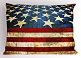 Ambesonne 4th of July Pillow Sham, United States of America Flag Themed Grunge Illustration Stars and Stripes, Decorative Standard King Size Printed Pillowcase, 36 X 20 inches, Multicolor