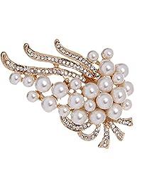 MagiDeal Flower Rhinestone Crystal Pearl Diamante Brooch Wedding Bridal Pin