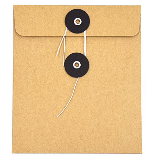 Ocharzy Blank CD DVD Kraft Paper Sleeves Envelope with Buckle (30 Pack, Black Buckle) (Sleeve Piece Paper 100 Cd)