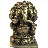 Five Head Lord Ganesha Sculpture Handmade Brass Hindu God Statues from India 7.62 x 4.45 x 5.08 cmsby DakshCraft