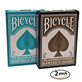 Bicycle Playing Cards Fashion Design Teal & Gold 2 Deck Bundle Collectors Edition Rare Decks by Bicycle