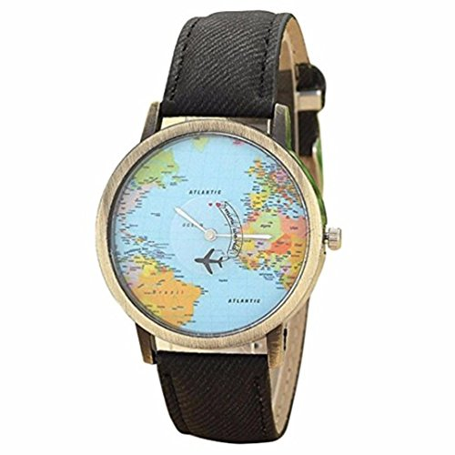 Ruhiku GW New Fashion Global Travel By Plane Map Women Dress Watch Denim Fabric Band (A)