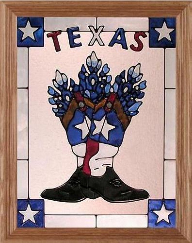 "Texas Boots Stars & Bluebonnets 13.5"" Wide x 16.5"" High Hand Painted Art Glass Panel"