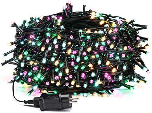 Avoalre Catena Luminosa 500 LEDs 50M Luci Natale 8 Modalità 4 Colori Stringa Luci Interno/Esterno Impermeabile Luci Decorative per Atmosfera Romantica Festa Nozze Compleanno, Rosa/Giallo/Blu/Verde