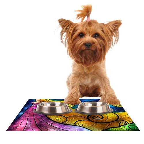 Kess InHouse Mandie Manzano Starry Lights  Feeding Mat for Pet Bowl, 18 by 13-Inch