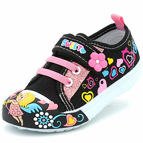 CAKI-PAPOS Canvas Sneakers Shoes for Toddler Girls Infant Baby First Walkers Colorful Flower Easy Walking Velcro Strap Soft Comfortable (6 M US Toddler, Black) Upper Flat Shoes