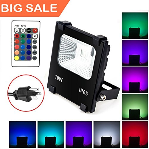 Wall Light Washer 1 ((Big Sale)10W RGB LED Flood Lights, Waterproof Outdoor Color Changing LED Security Light with Remote Control, Dimmable Wall Washer Lights with US 3-Plug)