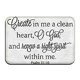 LINGLIII Clean Heart God Hight Spirit Bible Verse Funny Personalized Door Mats