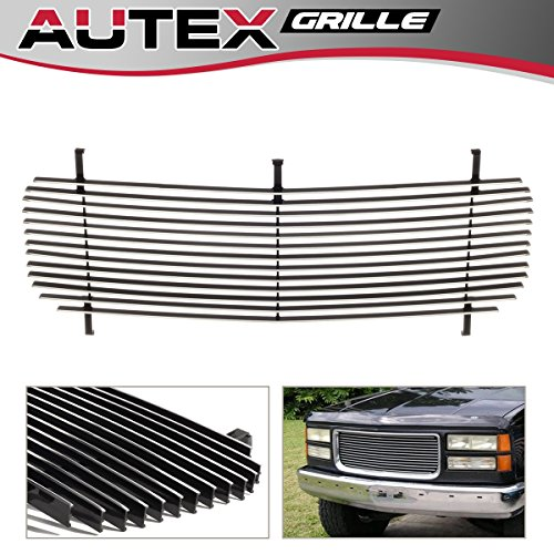 (AUTEX Polished Aluminum Horizontal Upper Billet Grille G85012A Compatible With 1994-1999 GMC Suburban, 1994-1999 GMC Yukon Grill, 1994-1998 GMC C/K Pickup)