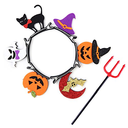 Halloween Hair Clips, Cosplay Party Barrettes, 6 pcs Bobby Pins with Devil Pitchfork (Bobby Halloween)