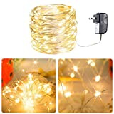 Micro 100 Warm White LED Starry Lights Plug In on 32 Ft Long Silver Ultra Thin String Wire [NEWEST VERSION] , Power Adaptor Included, Perfect For Creating Instant Appeal in Any Setting - Christmas Parties, Bedrooms, or an Intimate Environment Anywhere in