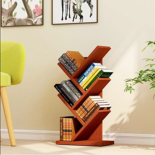 Jerry & Maggie 5 Tier Shelf Display Organizer Sloped Storage Wood Closet Multi Units Deluxe Free Stand Shelving Shelves Rack - Arrow Shaped | Dark Natural Wood Tone