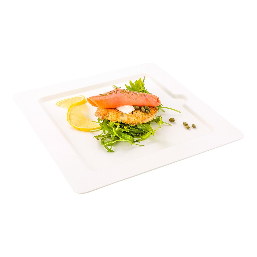 Bagasse Square Plate, Large Square Plate, Dinner Plate - 10'' - Durable All Natural, Biodegradable, Disposable Material - 100ct Box - Restaurantware