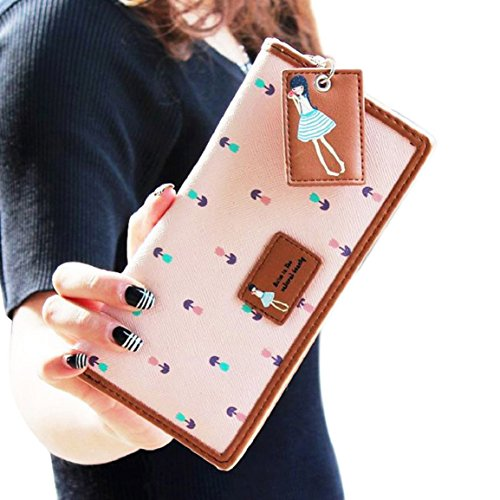 BESSKY 2015 Fashion Lady Women Long Purse Clutch Zip Bag Card HolderWallet (Pink)