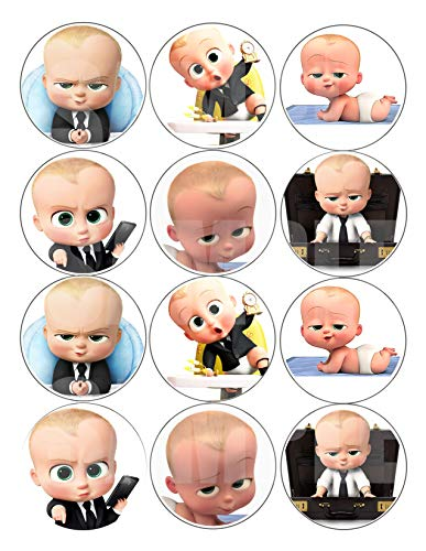 Boss Baby Stickers, Large 2.5 Round Circle DIY Stickers to Place onto Party Favor Bags, Cards, Boxes or Containers -12 pcs