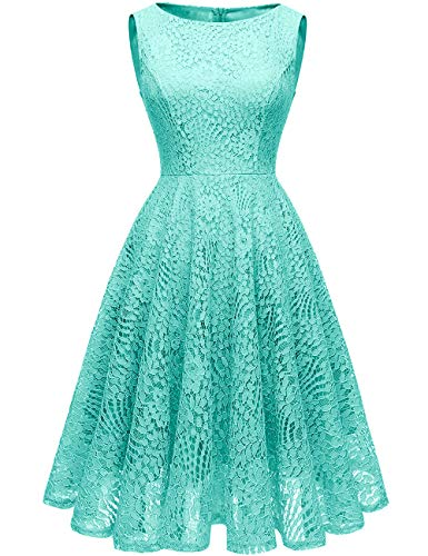 Kingfancy Guipure Lace Dresses, Lace Bridesmaid Dresses for Women Crew Neck Lace Wedding Dress for Evening Party Turquoise 2XL]()