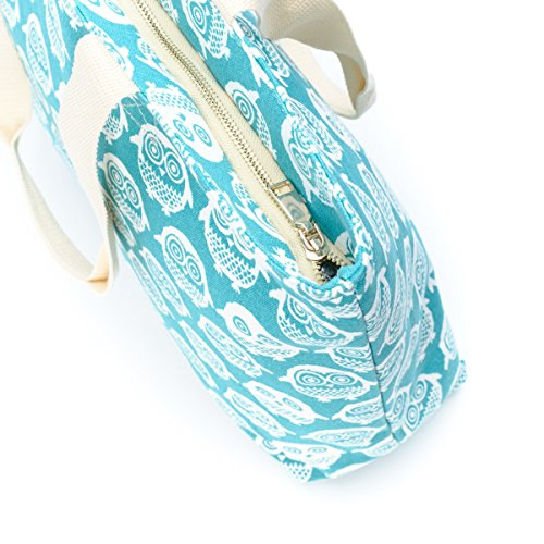 ~ Bag White Large Canvas Shopping Owls Turquoise Bag Tote Tote Large ~ Canvas Turquoise Shopping RqU1W7C