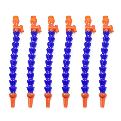 HONJIE Plastic Flexible Water Oil Coolant Pipe Hose 1/2PT Adjustable with Switch-6pcs