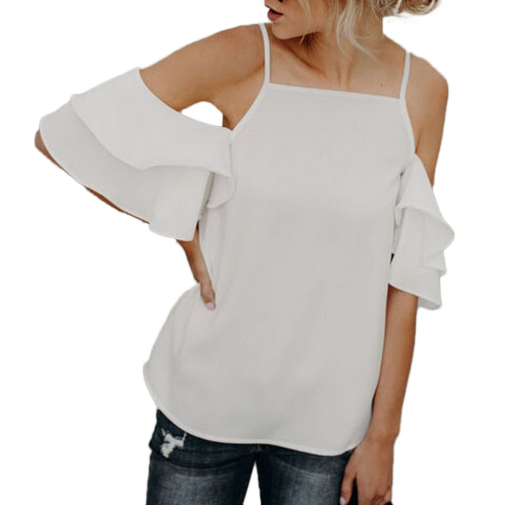 New in Respctful✿Women Cold Shoulder Tops 3/4 Bell Sleeves Loose Top Shirt Loose Stretch Tops Tunic Blouse Shirt White