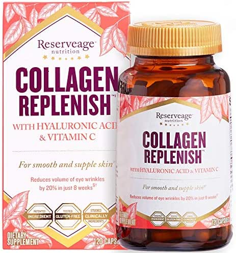 Reserveage, Collagen Replenish Capsules, Skin and Nail Supplement, Supports Collagen and Elastin Production, Gluten Free, 120 capsules (30 servings)