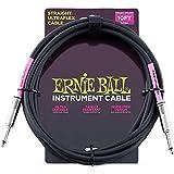 Ernie Ball Instrument Cable Straight/Straight Black Jacket P06048 10FT (3.04m) w/Bonus RIS Picks (x3) 749699160489