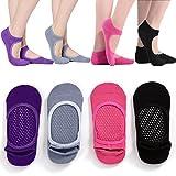 HYCLES Grippy Pilates Barre Yoga Socks - Ballet Non Skid Slipper Women Gripper Martial Arts Fitness Dance Sox