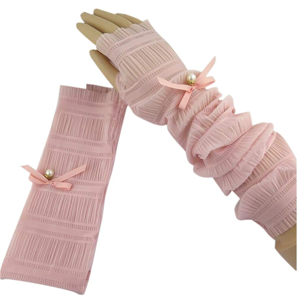 DIABO Women Sunmmer Driving Arm Sleeves Gloves Lace Sun UV Protection Cooling Long Arm Sleeves Harf Finger Outdoor Gloves,1 Pair