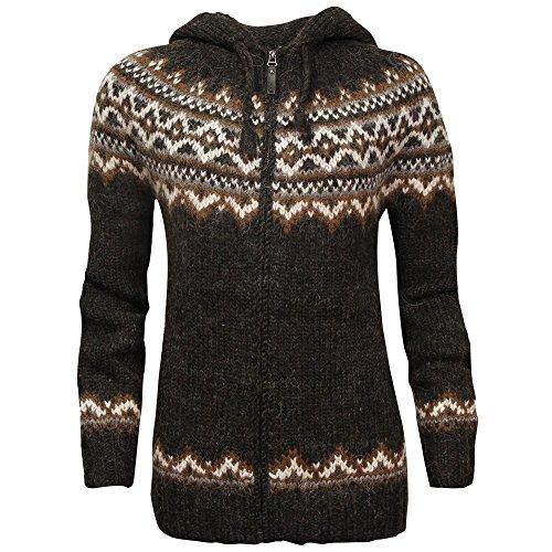 ICEWEAR Brynja 100% Icelandic Wool Hand Knitted Jumper with Zipper and Hood - Icelandic Wool Sweaters