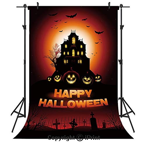 (Halloween Photography Backdrops,Happy Halloween Haunted House Flying Bats Scary Looking Pumpkins Cemetery Decorative,Birthday Party Seamless Photo Studio Booth Background Banner 6x9ft,Black Orange Red)