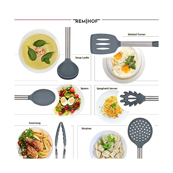 REMIHOF Silicone Kitchen Utensil Set - Nonstick Silicone and Stainless Steel Cooking Utensils - Spatula Turner Ladle… 3