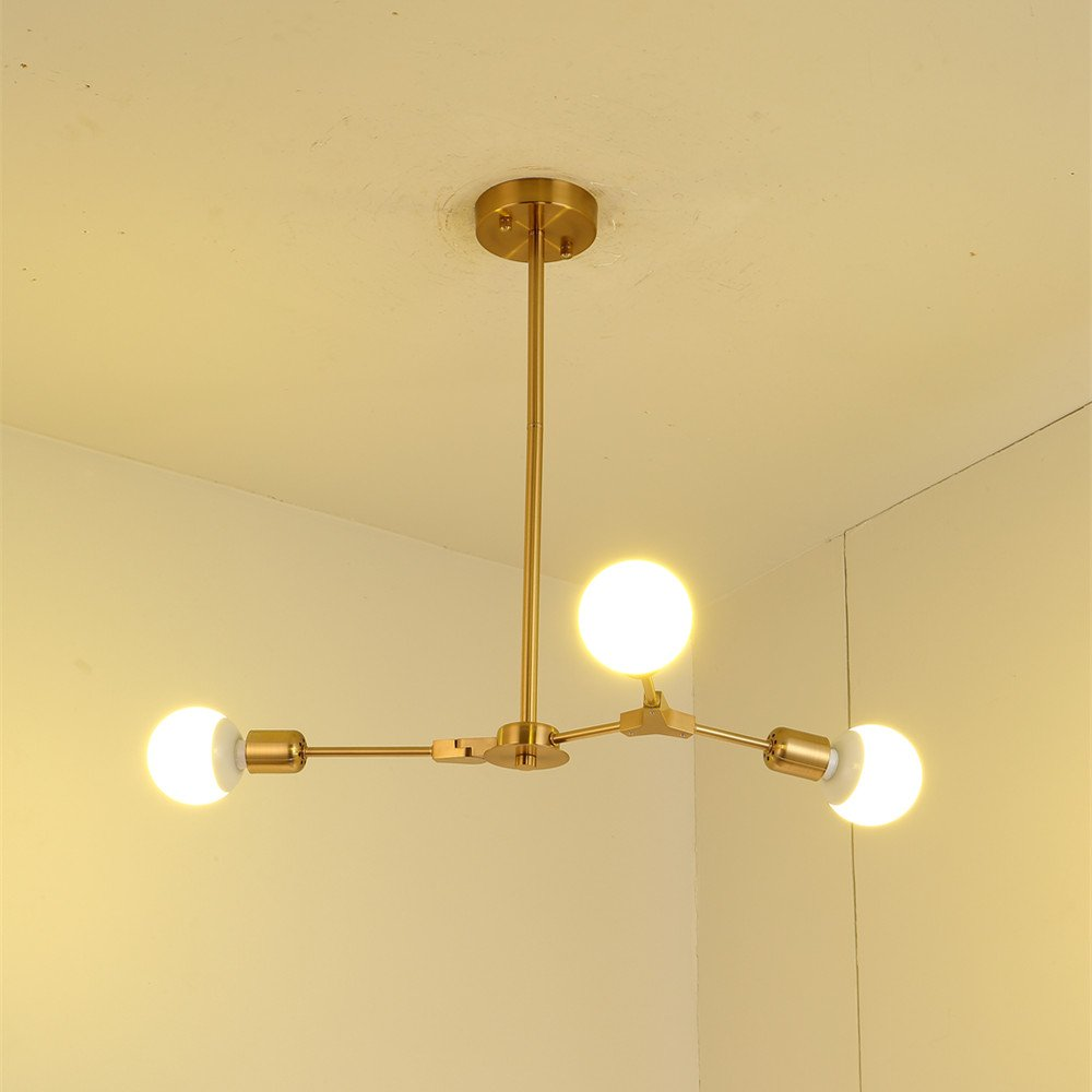 BOKT Mid Century Modern 3-Light Chandeliers Multi-Adjustable Chandelier Lighting Golden Sputnik Kitchen Island Lighting E26/E27 Bulb Sockets by BOKT (Image #3)