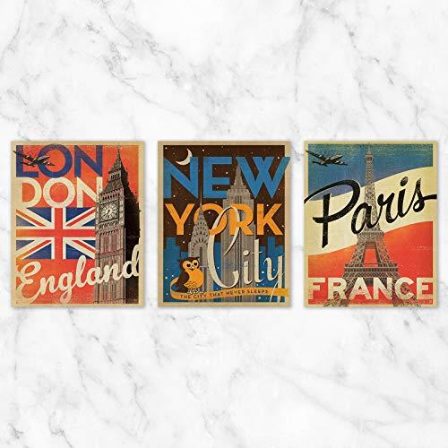Travel Poster Wall Art - Set of 3-8x10 Prints on Linen Paper - Unframed ()