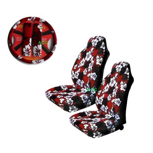 - A Set of 5 Pc. Universal-fit Hawaiian Front Bucket Seat Cover, Steering Wheel Cover and Shoulder Harness Pressure Relief Cover - Red Hawaii Hibiscus Floral Print