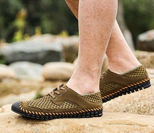Bomba Ponerse Mocasín Hilado de red Malla Sandalias Casual Zapatos Hombres Respirable Hueco Cordones Pedal Zapatos Zapatilla Zapatillas de deporte Conducción Zapatos Zapatos perezosos Tamaño de la UE Green