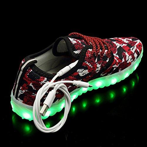 Qzmuse Color Arcobaleno Unisex Scarpe Led Per Bambini Scarpe Da Ballo Luminose Luci Lampeggianti Sneaker Moda Rosso Camo