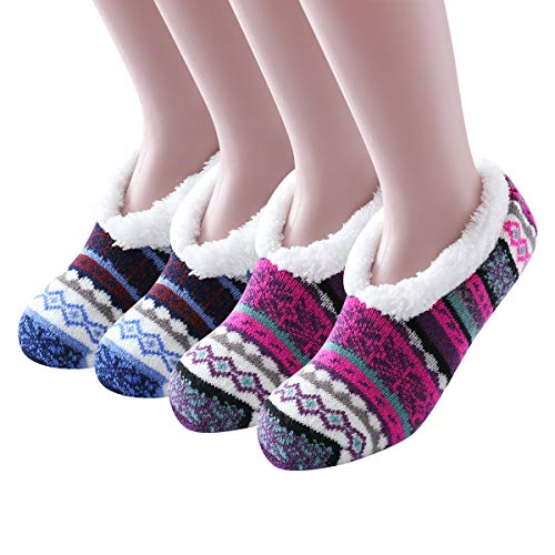 Ninecoo Women Winter Soft Thick Warm Cozy Fuzzy Fleece-lined Christmas Gift Grippers Slipper Socks Thermal Double Layer Ankle