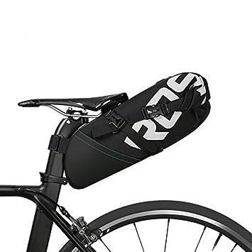 Roswheel 8L/10L Bolsa de sillín alforja para bicicleta Bicicletas Bolsa Bolsa para sillin de bici(Cinta reflectante material, Apertura plegable)
