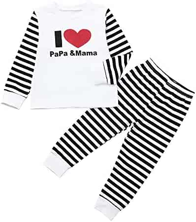 b13deb90edd68 Baby Clothes Set Pulison Boy Girl Letter T shirt Tops+Striped Pants Toddler  Kids Casual