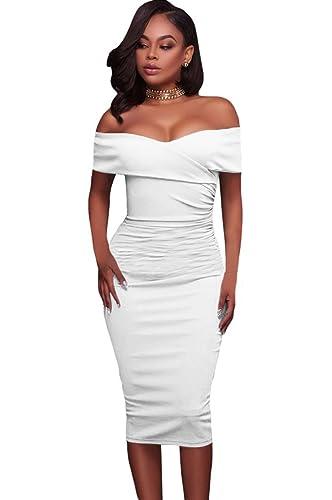 Fortuning's JDS Le donne hanno increspato il vestito della matita del bodycon del Midi della spalla