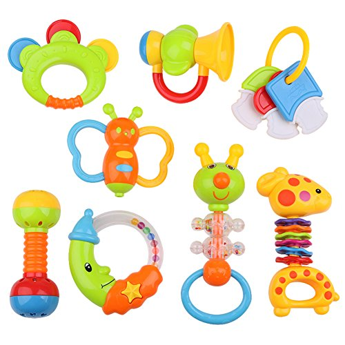 Fun Baby Rattle Set | 9 Pcs of Teether Toy Play Set Non-Toxic Colorful First Time Toddler Infant Teething Sensory Support Toy with Giant Baby Bottle Storage Coin Bank | Blue (Bottle Holder) |985.3 (Rattle Fun Teething)