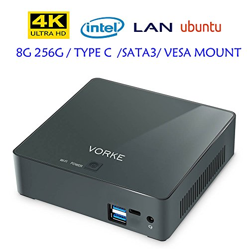 VORKE V2 Plus Intel Skylake I7-7500U Mini PC True 4K 60FPS Ubuntu 16.04 8G DDR3L 256G SSD Type-C VESA Bracket Gigabit LAN WIFI 2.4G /5.8G HDMI USB 3.1 Bluetooth 4.2 Dual display Mini Desktop