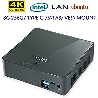 VORKE Intel Skylake I7-7500U PC Computer Mini PC True 4K 60FPS Ubuntu 16.04 8G DDR3L 256G SSD Type-C VESA Bracket Gigabit LAN WIFI 2.4G /5.8G HDMI USB 3.1 Bluetooth 4.2 Dual Display with HDMI+USB-C